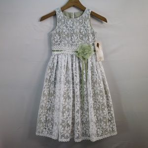 US ANGELS FLOWER GIRL DRESS IVORY LACE GREEN 6